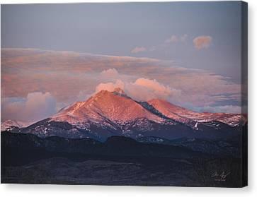 Longs Peak Sunrise Canvas Print by Aaron Spong