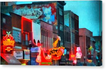 Looking Down Broadway In Nashville Tennessee Canvas Print by Dan Sproul