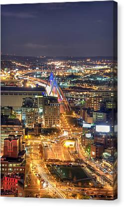 Looking Down -  Boston Skyline Aerial Canvas Print by Joann Vitali