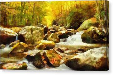 Looking Down Little River In Autumn Canvas Print by Dan Sproul