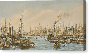 Looking Towards London Bridge Canvas Print by William Parrot
