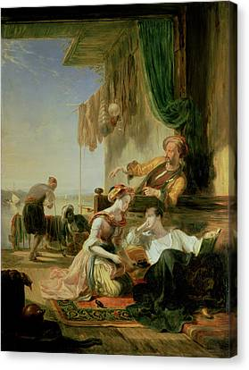 Lord Byron Reposing In The House Of A Fisherman Having Swum The Hellespont, 1831  Canvas Print by Sir William Allan