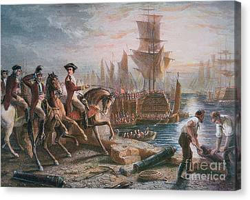 Lord Howe Organizes The British Evacuation Of Boston In March 1776 Canvas Print by English School