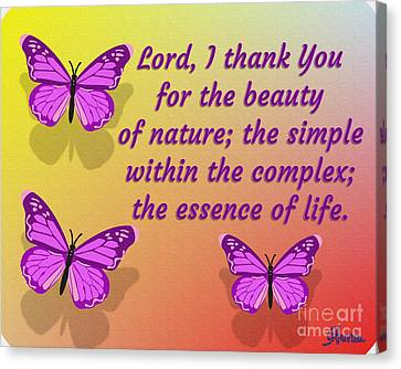 Lord I Thank You For The Beauty Of Nature Canvas Print by Pharris Art