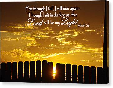 Lord Will Be My Light Micah 7 Canvas Print by Robyn Stacey