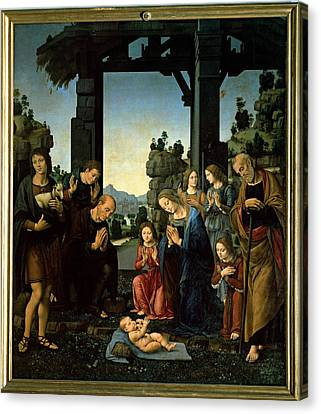 Lorenzo Di Credi, The Adoration Canvas Print by Everett