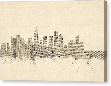 Los Angeles California Skyline Sheet Music Cityscape Canvas Print by Michael Tompsett