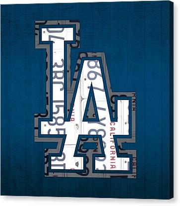 Los Angeles Dodgers Baseball Vintage Logo License Plate Art Canvas Print by Design Turnpike