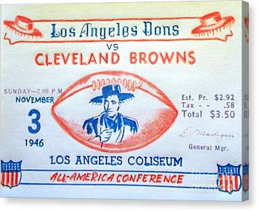 Los Angeles Dons Vs Cleveland Browns Canvas Print by Pg Reproductions