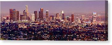 Los Angeles Skyline At Dusk Canvas Print by Jon Holiday
