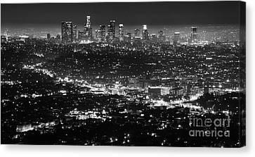 Los Angeles Skyline At Night Monochrome Canvas Print by Bob Christopher