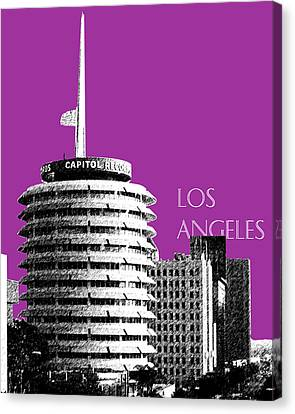 Los Angeles Skyline Capitol Records - Plum Canvas Print by DB Artist