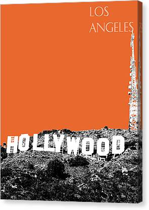 Los Angeles Skyline Hollywood - Coral Canvas Print by DB Artist