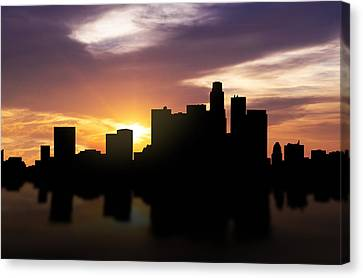 Los Angeles Sunset Skyline  Canvas Print by Aged Pixel