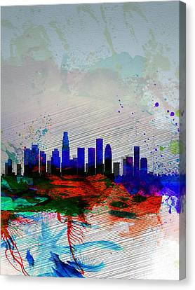 Los Angeles  Watercolor Skyline 1 Canvas Print by Naxart Studio