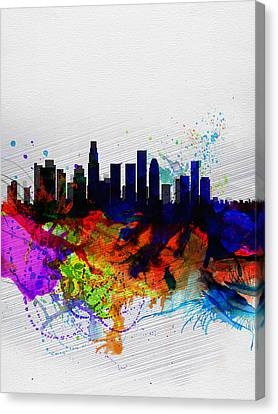 Los Angeles  Watercolor Skyline 2 Canvas Print by Naxart Studio