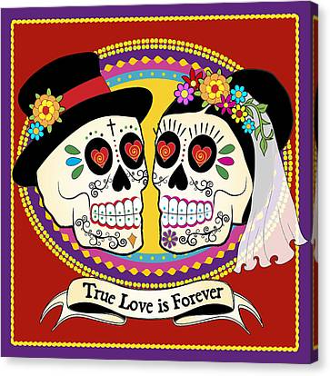 Los Novios Sugar Skulls Canvas Print by Tammy Wetzel