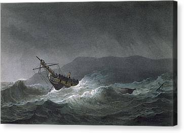 Loss Of The Blanche Canvas Print by Thomas Whitcombe