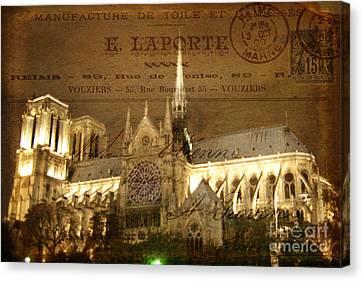Lost In Paris Post Card Canvas Print by Lee Dos Santos