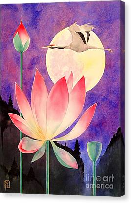 Lotus And Crane Canvas Print by Robert Hooper