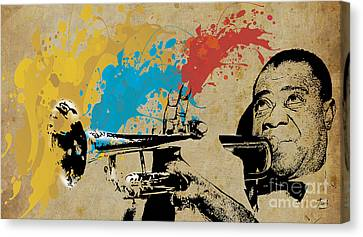 Louis Armstrong Trumpet And Colors Canvas Print by Pablo Franchi