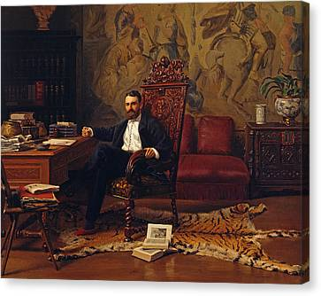 Louis Signorino Seated In His Study  Canvas Print by Gustave Bourgain