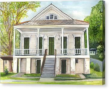 Louisiana Historic District Home Canvas Print by Elaine Hodges