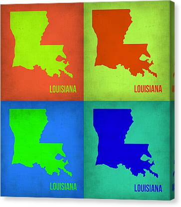 Louisiana Pop Art Map 1 Canvas Print by Naxart Studio