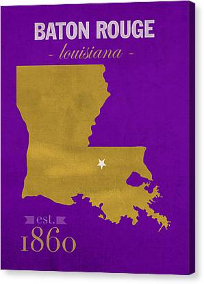 Louisiana State University Tigers Baton Rouge La College Town State Map Poster Series No 055 Canvas Print by Design Turnpike