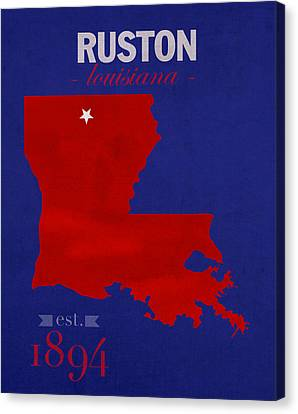 Louisiana Tech University Bulldogs Ruston Louisiana College Town State Map Poster Series No 056 Canvas Print by Design Turnpike