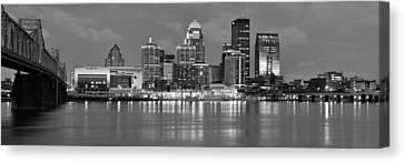 Louisville Skyline At Dusk Sunset Bw Black And White Panorama Kentucky Canvas Print by Jon Holiday