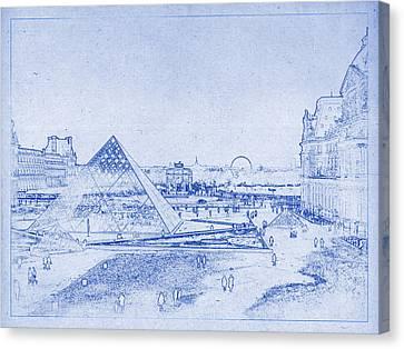 Louvre And Paris Skyline Blueprint Canvas Print by Kaleidoscopik Photography