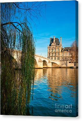 Louvre Museum And Pont Royal - Paris - France Canvas Print by Luciano Mortula