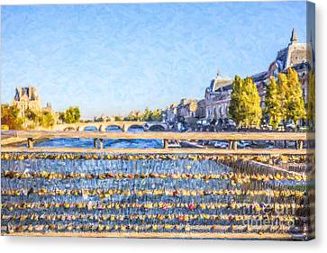 Love Across The Seine Canvas Print by Liz Leyden