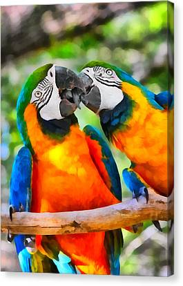 Love Bites - Parrots In Silver Springs Canvas Print by Christine Till