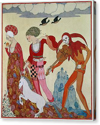 Love Desire And Death Canvas Print by Georges Barbier
