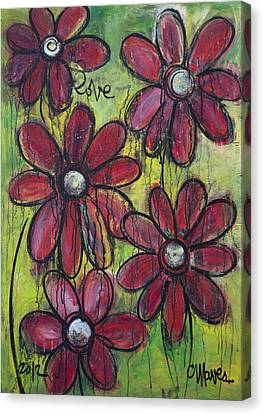 Love For Five Daisies Canvas Print by Laurie Maves ART