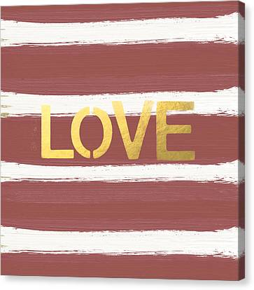 Love In Gold And Marsala Canvas Print by Linda Woods