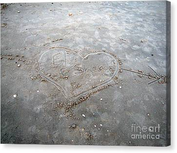 Love Letters In The Sand Canvas Print by Sharon Burger