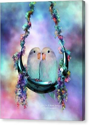 Love On A Moon Swing Canvas Print by Carol Cavalaris