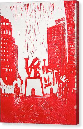 Love Park In Red Canvas Print by Marita McVeigh