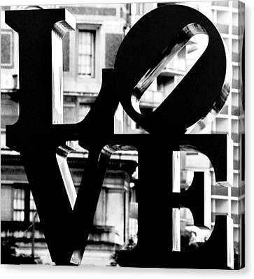 Love Philadelphia Black And White  Canvas Print by Terry DeLuco