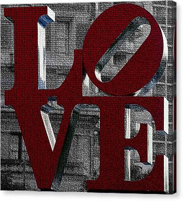 Love Philadelphia Red Mosaic Canvas Print by Terry DeLuco