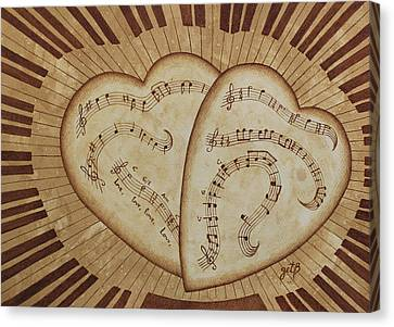 Love Song Of Our Hearts Canvas Print by Georgeta Blanaru