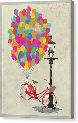 Love To Ride My Bike With Balloons Even If It's Not Practical. Canvas Print by Andy Scullion
