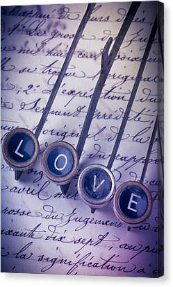 Love Type On Old Letter Canvas Print by Garry Gay