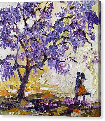Love Under The Jacaranda Tree Canvas Print by Ginette Callaway