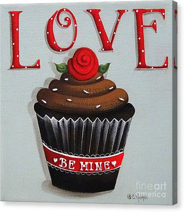 Love Valentine Cupcake Canvas Print by Catherine Holman