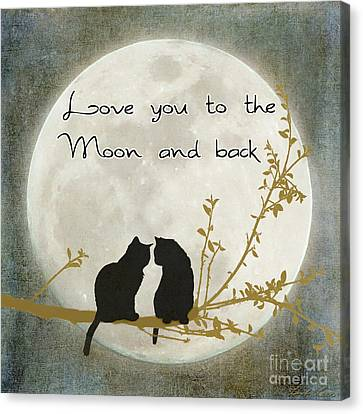 Love You To The Moon And Back Canvas Print by Linda Lees