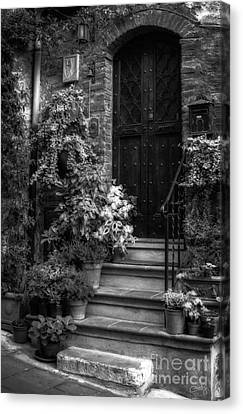 Lovely Entrance In Black And White Canvas Print by Prints of Italy